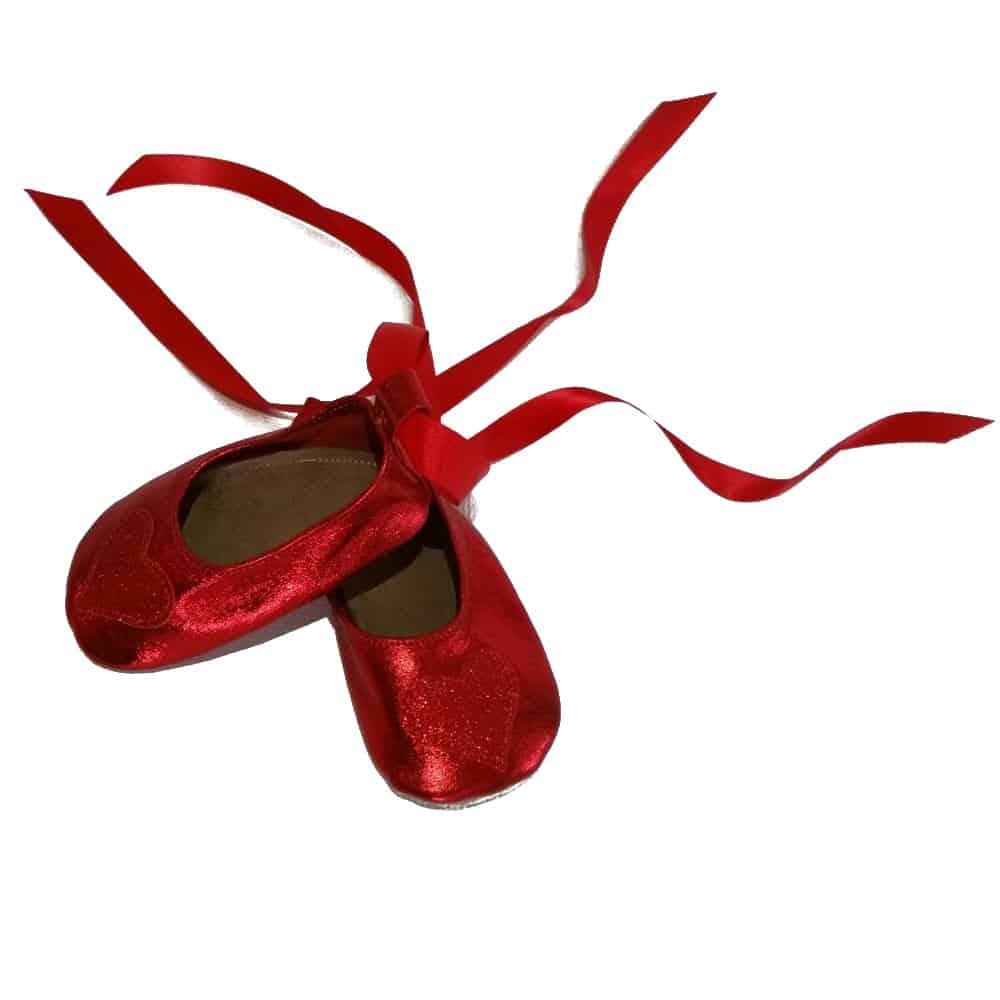Pantofiori Ballerina Heart Red Metallic, Starchild UK