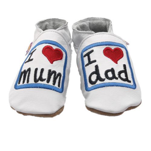Pantofiori din piele lucrati manual - I Love Mum And Dad