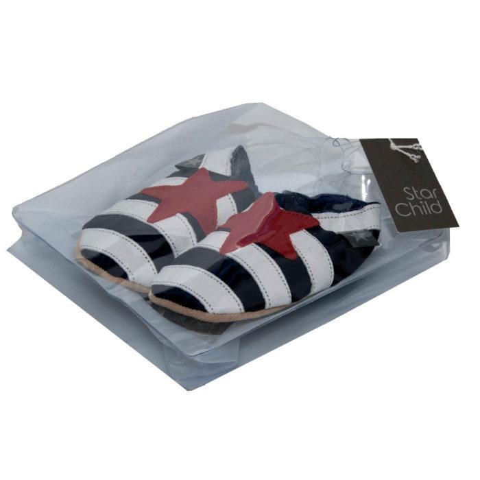 Pantofiori din piele lucrati manual, Sailor In Navy , Stachild