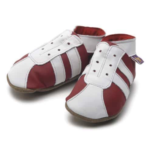 Pantofiori bebe, 6-12luni , alb-rosu, stil gheata fotbal