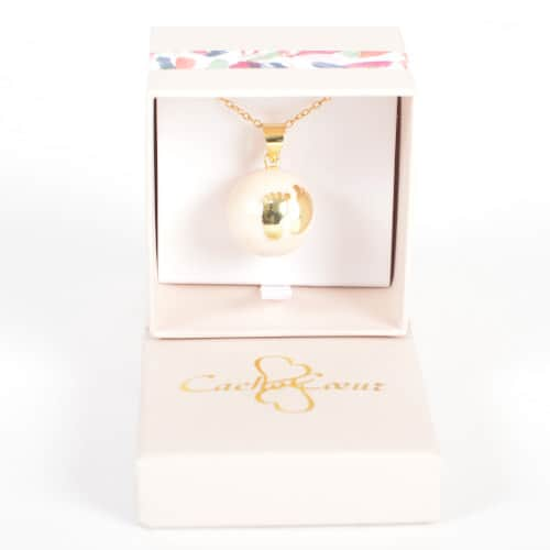 Bola Colier Pentru Maternitate Gold Babyfeet, Lant Placat Cu Aur
