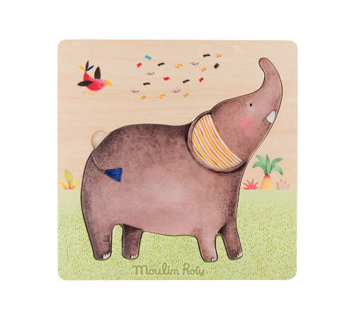 658305 Puzzle din lemn Elefant, Moulin Roty