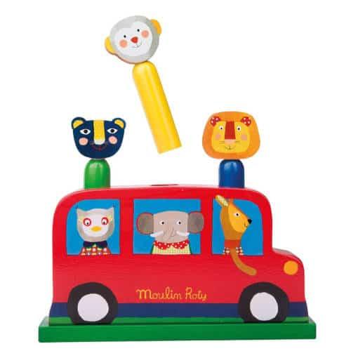 661176-1 Jucarie din lemn pentru bebelusi Autobuzul Veseliei