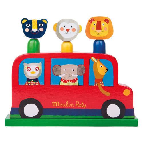 Jucarie din lemn pentru bebelusi Autobuzul Veseliei