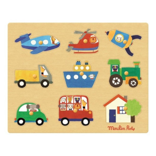 661324 Puzzle din lemn cu maner Vehicule