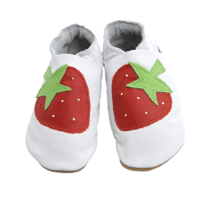 pantofiori din piele lucrati manual-strawberry-white