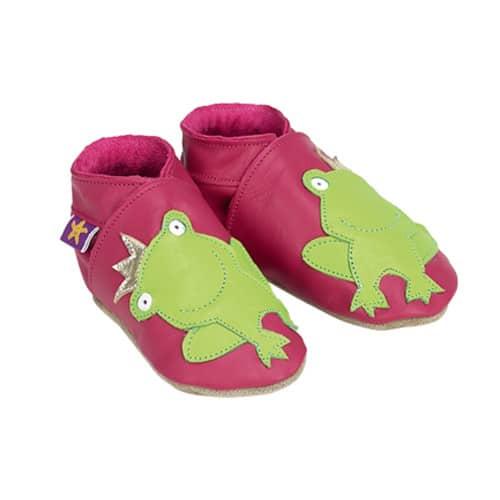 Pantofiori din piele moale pentru bebelusi -Frog Fuchsia