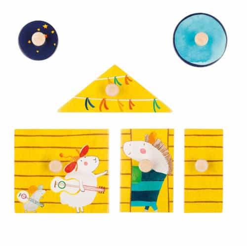 659318 Puzzle din lemn cu maner Cortul vesel
