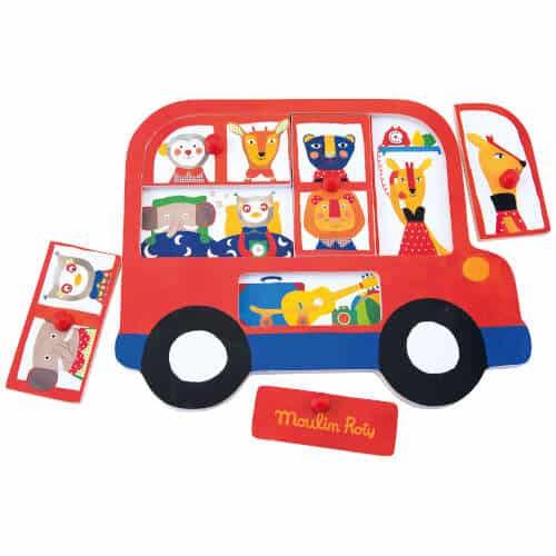 661325 Puzzle din lemn cu maner Autobuzul veseliei