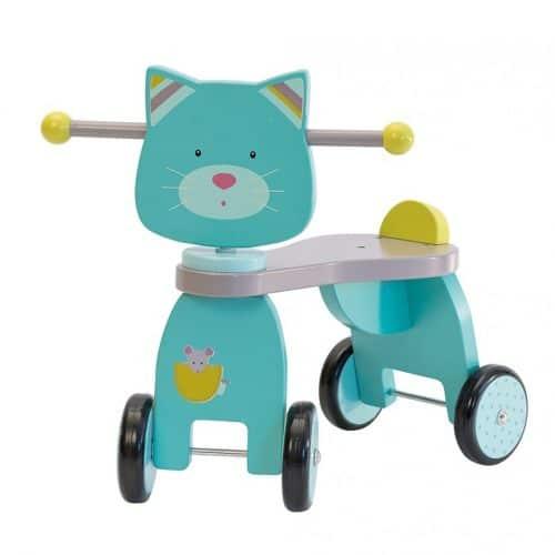 Bicicleta din lemn 4 roti fara pedale Doamna Pisica, Moulin Roty
