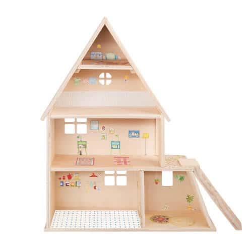 632420 Casuta papusilor - din lemn pe 3 etaje