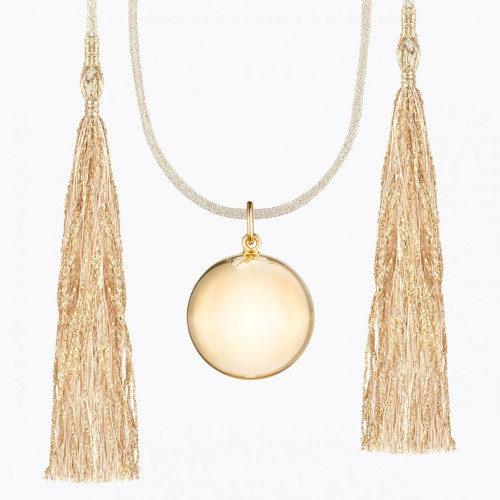 Colier sarcina Acapulco gold cordon alb, Ilado Paris