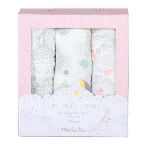 Set-de-3-scutece-imprimate-roz-Les-Petits-Dodos-Moulin-Roty