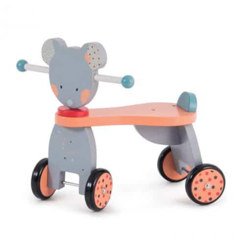 Bicicleta cu 4 roti din lemn pentru copii, Domnul Soricel, Moulin Roty