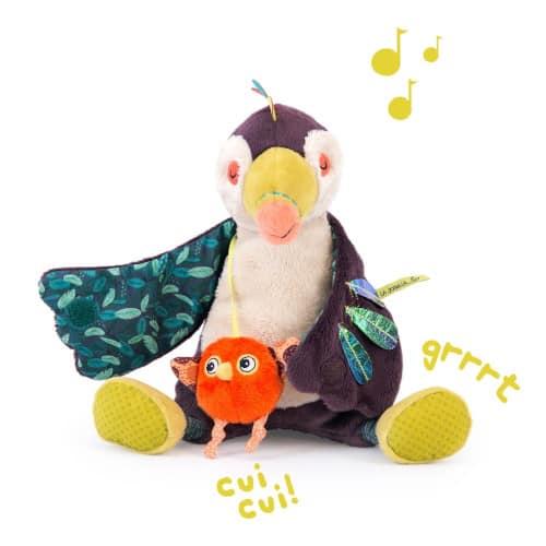 Jucarie muzicala bebe, plus 29 cm, Domnul Papagal, Moulin Roty