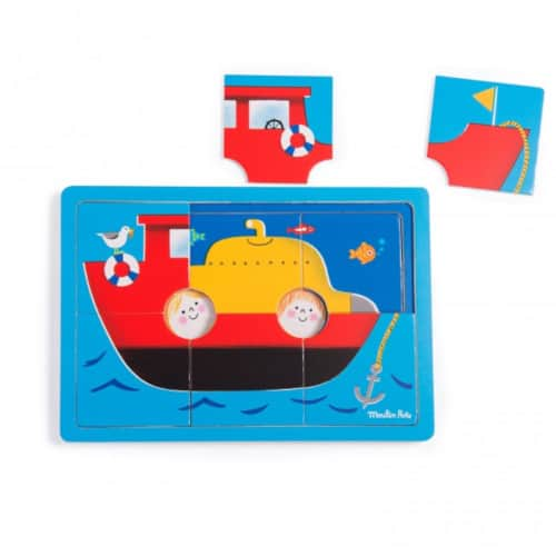 Puzzle din lemn Submarin, + 2ani, Moulin Roty