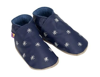 Papucei de interior, piele naturla, bebelusi baieti, Starry Nite